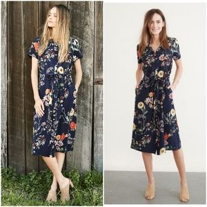 Amour Vert Lou Floral Print Midi Sundress Dress